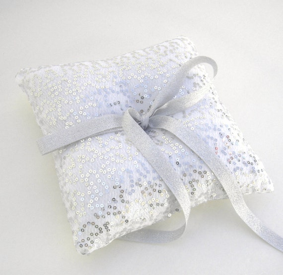 Silver Sequin Ring Bearer Pillow, Silver Ring Bearer Pillow, Silver Wedding Decor, Sequin Pillow, Glamour Wedding, Silver Wedding  COUNTESS