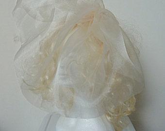 Ladies champagne veil/silk organza blusher/chin length veil/bridal veil short/rhinestone veil/peach coloured veil/vinatge inspired veil/