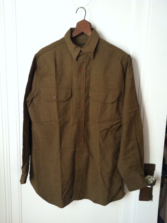 Vintage Military Long Sleeve Button Down Wool Shirt