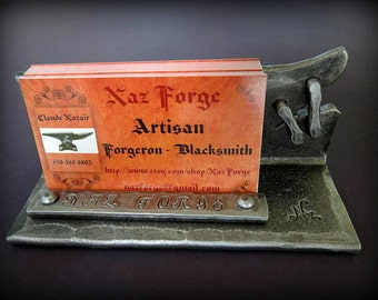 PERSONALIZED Business Card Holder  Hand Forged and Signed by Blacksmith Naz - Unique Metal Stitched by a Blacksmith - Business cards display