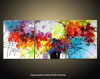 Abstract Painting, 48'' Original Flower Palette Knife Texture Painting Ready to Hang