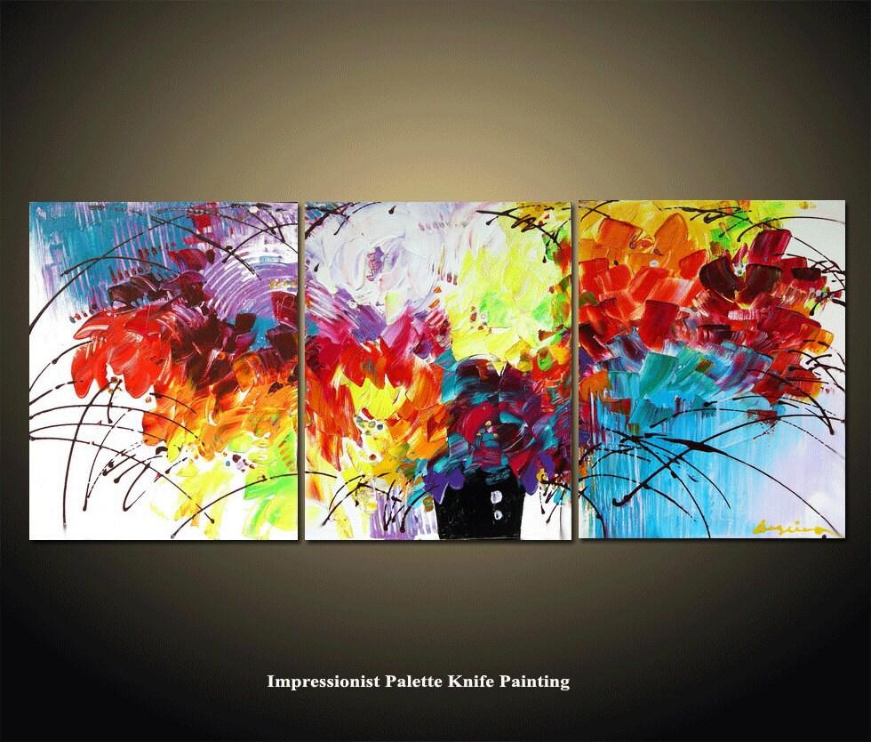Abstract painting 48 39 39 original flower palette knife for Peinture mural original