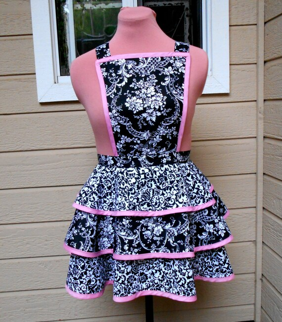 Tiered Apron in Black & White Floral PrintsTrimmed in Pink
