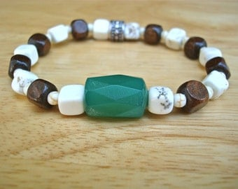 Men's Spiritual Bracelet with Brazilian Faceted Green Agate, Off White Howlite, Wood and Bali Beads - Johnny Depp Bohemian Bracelet