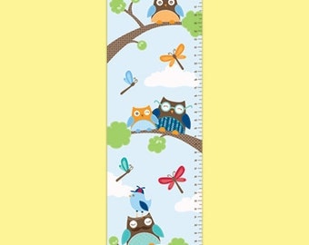Personalized Owl Growth Chart - Hoot Hoot - Boy