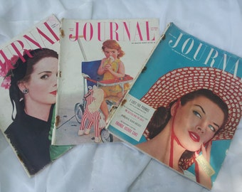 Set of Three Vintage Ladies Home Journal 1950s Magazines Paper