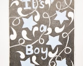 Hand painted doodle art baby announcement gift card with blue stars saying It's a boy, New baby boy special occasion card