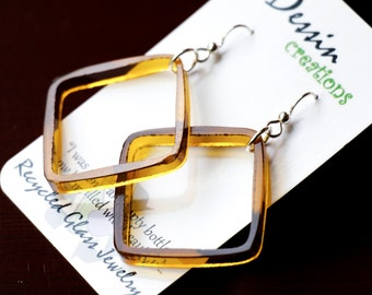 UNIQUE SQUARE Drop Earrings made from a Little Glass Bottle, Fused Glass Jewelry, Amber Glass Earrings, Sterling Silver, Dessin Creations