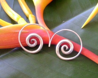 Spiral Silver Earrings - The Simplest One (5)