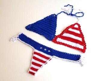 4th of july american flag bikini top and bikini bottom brazilian bikini bottom crochet bikini swimsuit women stars and stripes senoAccessory