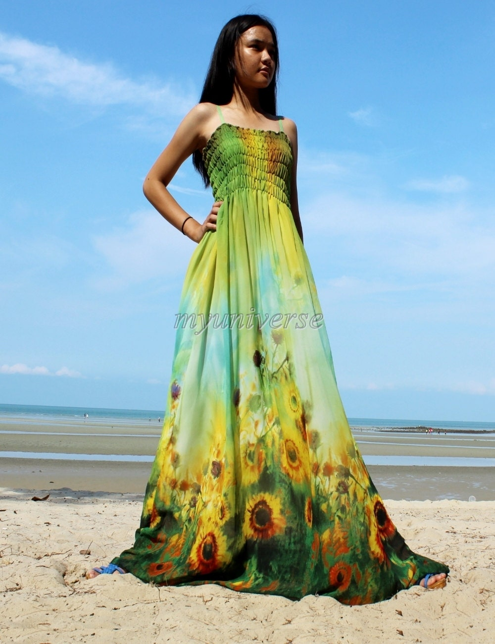 Sunflower maxi dress prom bridesmaid dress plus by myuniverse for Sunflower dresses for wedding