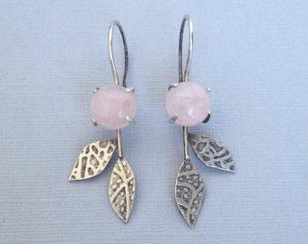 Leafy Dangles - Pink Quartz
