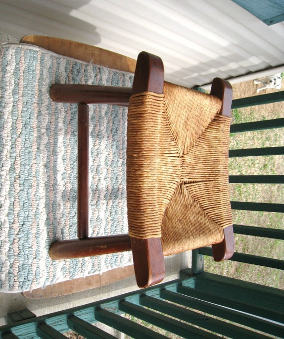 Mid Century Modern Curved Wood Stool With Woven Rush Seat