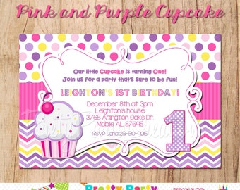 PINK/PURPLE CUPCAKE invitation - You Print -  with or without photo