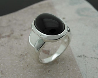 onix cabochon sterling silver ring