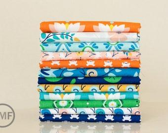 Fat Quarter Bundle Lotus Pond, 12 Pieces, Rae Hoekstra, 100% GOTS-Certified Organic Cotton, Cloud9 Fabrics