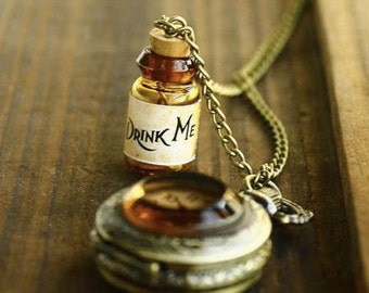 Alice in Wonderland Drink Me Pocket Watch Locket Necklace