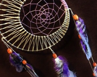 Ineternationally friendly- Dream Catcher- Moon Motions Signature Silver Ringed Dream Catcher- LILAC  MOON- Made to Order