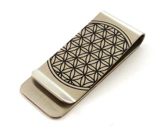 Flower of Life Stainless Steel Money Clip - Sacred Geometry