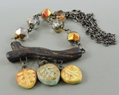 Ceramic Branch & Leaf Necklace, Nature Necklace, Fall Leaf Jewelry, Czech Glass Jewelry, Woodsy Necklace Woodsey