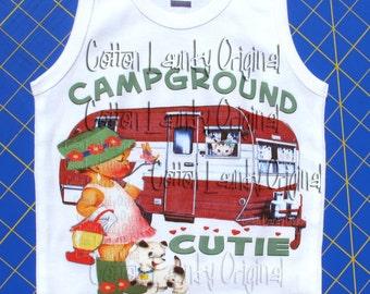 Camping tee shirt -Kid's Shirt - Campground Cutie -  Kids Clothes -Toddler Shirt - Camping, Glamping summer tee shirt