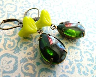 Green Earrings, Autumn Earrings, Olivine Green, Chartreuse, Fall Jewelry, Bohemian Earrings, Vintage Earrings, Floral Earrings, Art Deco