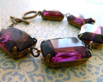 Amethyst Jewel Bracelet, Purple Vintage Bracelet, Chunky Bracelet, Vintage Rhinestone Bracelet, Art Deco Jewelry, Statement Bracelet