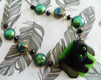 Halloween Necklace, Retro Halloween Jewelry, Black Cat Necklace, Halloween Cat, Retro Cat Necklace, Vintage Halloween Jewelry, Black Cat