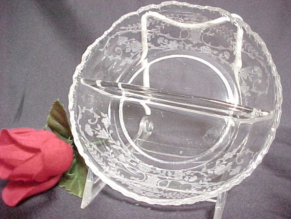 Vintage Cambridge Glass Portia Etch Crystal 2 part Relish, Depression Era Serving Glassware, Collectible Glass Elegant Dinnerware