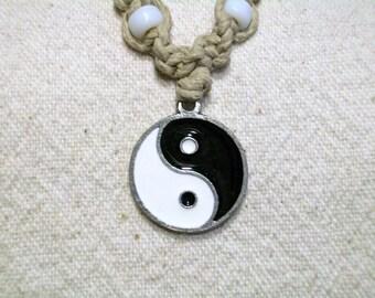Hemp Necklace Yin and Yang Pendant