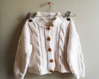 Vintage children's white sweater / kids cable knit button up