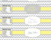 Gender Neutral Baby Shower- chevron yellow and grey personalized water bottle wrapper- print your own