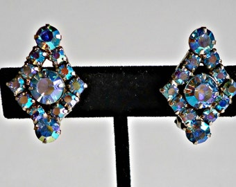 Vintage Earrings Art Deco Blue Aurora Borealis Rhinestone Earrings Clip On