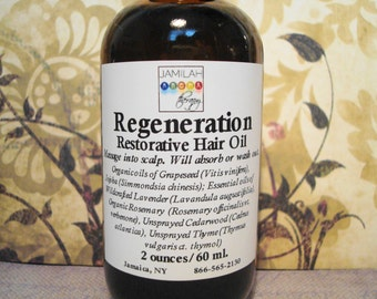 Regeneration - Restorative Hair Oil - Reduces Hair Loss, Promotes Hair Growth - Organic & Wildcrafted Essential Oils - Daily Use, 2oz./60ml.