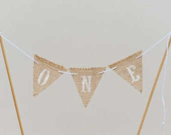 ONE - 1st Birthday Small Pennant Banner Cupcake/ Cake Banner Topper / First Birthday/ Burlap pennant with White letters - Ready to ship
