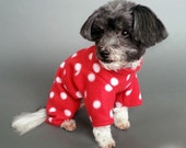 Red Dog Romper with White Polka Dots, 2 Leg and 4 Leg Styles