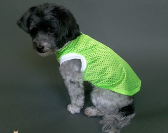 Dog Tank Top Neon Green Athletic Jersey Mesh