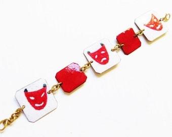 Vintage Bracelet, Red White, Enamel Jewelry, Comedy Tragedy Theatre, Copper Bracelet. Handmade 1960s Costume Jewelry
