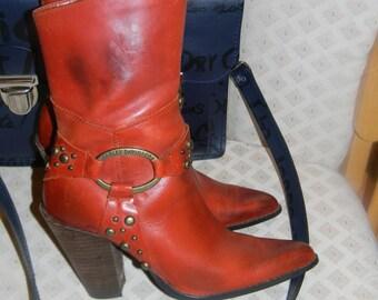 Ladies HARLEY DAVIDSON fashion boots.Burnt Whiskey. Genuine Leather. Rockabilly MOTO vintage Boots.American Hustle.Jennifer Lawrence.