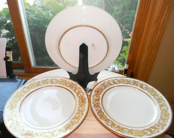 Charles Ahrenfeldt Limoges dinner plates. Heavy gilded gold .wedding dishes.serving .Holiday dinnerware.hand painted collectable dishes