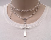 Huge Egyptian Ankh Symbol Of Life Cross Charm On A Chunky Silver Plated 30 Inch Chain Hand Made Necklace/Double Wrap Choker ko