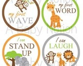 Baby jungle animal firsts milestone stickers or iron on decals baby shower gift monkey lion elephant giraffe crocodile