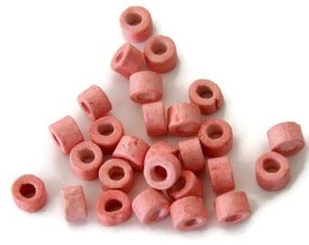 Salmon Pink Tubes, Salmon Pink ceramic beads 30 pcs-C 10 040