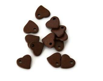 Brown Ceramic Heart Beads, Large Brown Heart Ceramic Pendants  C 10 055