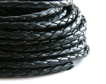 Black Braided Bolo Leather Cord (5mm) 1m - 1yard S 40 016