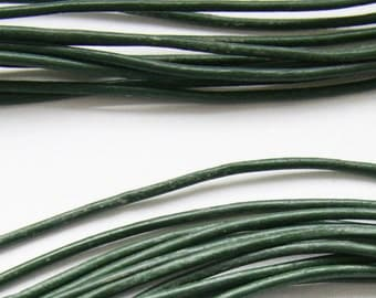 Green Round Leather Cord, Dark Green, Leather Cord Greek leather cord 2mm 1m- 1 yard S 40 084
