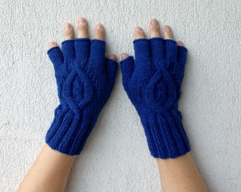 Mens Fingerless Gloves - blue Cable pattern  Gift For Him  half finger gloves