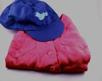 Blue Birds Girl's Size 5/ 6 Blue Bird Vest and Cap Red Blue