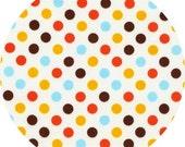 Bermuda Spot On Robert Kaufman Fabric 1 yard Brown, Orange Blue Yellow and White Polka Dot EZCSPRKHT Basics Blenders Textures