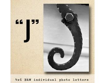 Letter J Alphabet Photography  Black & White 4x6 Photo Letter UNFRAMED, letter photography